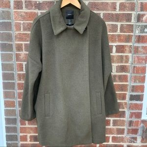 Olive Green Cape Style Wool Blend Jacket L